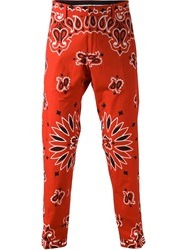 Moschino Paisley Straight Leg Trousers Red