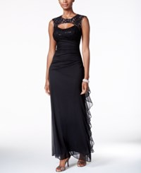 Betsy And Adam B A By Lace Trim Cutout Ruched Gown Black