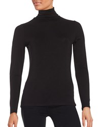 Lord And Taylor Long Sleeve Turtleneck Top Black