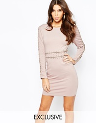 Naanaa Lace Up Chain Detail Bodycon Dress Mink