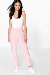 Boohoo Wrap Front Woven Trouser Nude