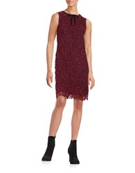 Taylor Lace Overlay Sheath Dress Wine