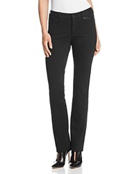 Nydj Marilyn Faux Leather Trimmed Ponte Straight Leg Jeans In Black