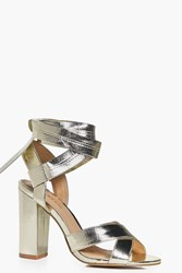 Boohoo Block Heel Cross Front Wrap Strap Gold