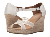 Toms Wedding Wedge Platinum Grosgrain Lace Women's Wedge Shoes White