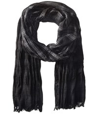 John Varvatos Shirt Plaid Dip Dye Black Charcoal Silver Heather Scarves