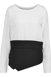 Antonio Berardi Two Tone Stretch Crepe And Pique Top Black