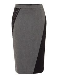 Ellen Tracy Lace Insert Pencil Skirt Grey