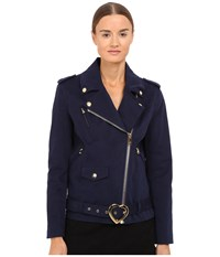 Love Moschino Coat With Heart Buckle Navy
