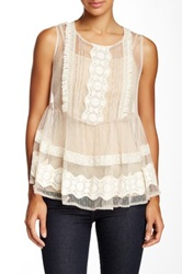 Ryu Mesh Embroidered Sleeveless Blouse Beige