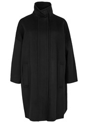 Vince Black Wool Funnel Neck Coat