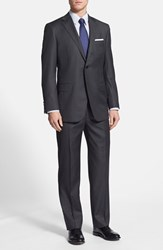 Men's Big And Tall Hickey Freeman 'Beacon B Series' Classic Fit Wool Suit Charcoal