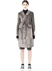 Rick Owens Long Velvet Coat Grey