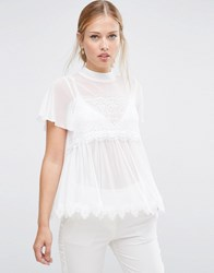 Asos Top In Mesh And Lace Mix With Short Sleeve Ivory Cream