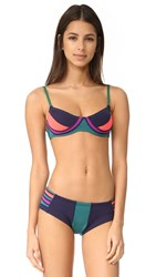 Cynthia Rowley Colorblock Bikini Top Deep Green Vermilion Blue