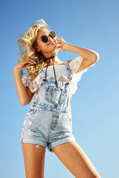 Forever 21 Distressed Overall Shorts
