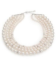 Majorica 8Mm 14Mm White Pearl And Sterling Silver Nested Triple Strand Necklace White Silver