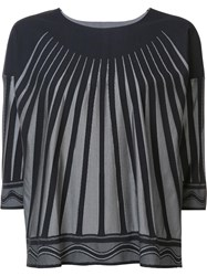 Issey Miyake Pleats Please By Striped Cropped Blouse Black