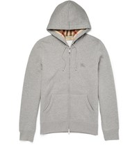 Burberry Sli Fit Cotton Blend Jersey Zip Up Hoodie Gray