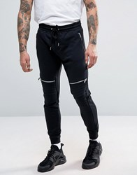 Pull And Bear Pullandbear Skinny Joggers With Zip Detail In Black Black