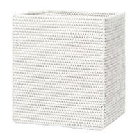 Pigeon And Poodle Dalton Rattan Rectangular Waste Bin White