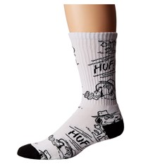 Huf Spike Needles Crew Sock White Men's Crew Cut Socks Shoes
