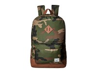 Herschel Heritage Woodland Camo Tan Synthetic Leather Backpack Bags Olive