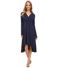 Mod O Doc Cotton Modal Spandex Jersey 3 4 Sleeve Shirred Empire Hi Low Dress New Navy Women's Dress
