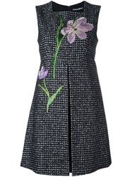 Dolce And Gabbana Flower Patch Tweed Dress Black