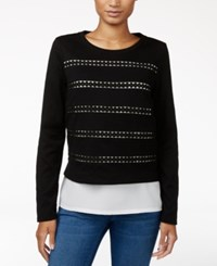 Maison Jules Cutout Layered Look Top Only At Macy's Deep Black