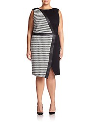 Abs Plus Size Houndstooth Mixed Media Sheath Dress Black White