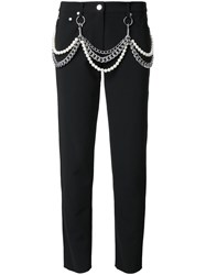 Moschino Pearl And Chain Embellished Trousers Black