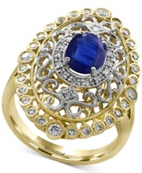 Effy Royale Bleu Blue Sapphire 1 3 8 Ct. T.W. And Diamond 1 2 Ct. T.W. In 14K Gold And White Gold Two Tone