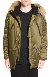 Men's Members Only Hooded Military Parka With Faux Fur Trim