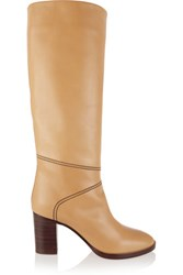 Chloe Leather Knee Boots Sand