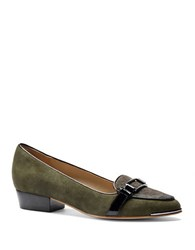 Isola Brenda Suede And Calf Hair Loafers Hunter Green