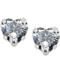 Macy's Cubic Zirconia Heart Stud Earrings In 14K White Gold