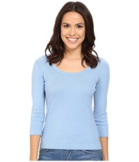 Three Dots 3 4 Sleeve Scoop Neck Vintage Wash Women's Long Sleeve Pullover Navy
