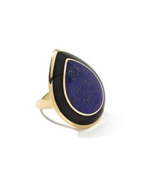 Ippolita Rock Candy 18K Teardrop Lapis And Onyx Cocktail Ring Size 7