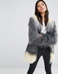 Little Mistress Longline Ombre Faux Fur Coat Black