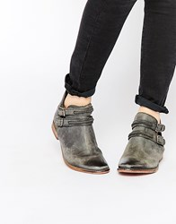 Free People Black Braeburn Double Buckle Cut Out Ankle Boots Black