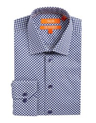 Tallia Orange Geometric Floral Print Dress Shirt Blue