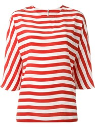 Dolce And Gabbana Striped Loose Blouse Red