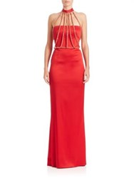 Moschino Satin Chain Harness Gown