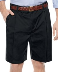 Geoffrey Beene Shorts Extender Waist Double Pleat Shorts Black