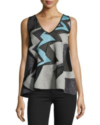M Missoni Sleeveless Geometric Lurex Intarsia Swing Top Ice