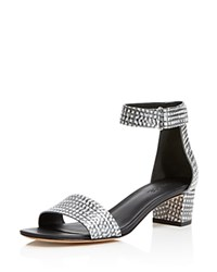 Vince Rita Embossed Metallic Mid Heel Sandals Black White