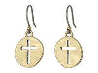 Lucky Brand Cross Coin Earrings Gold Earring