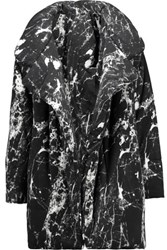 Norma Kamali Reversible Printed Stretch Jersey Coat Black
