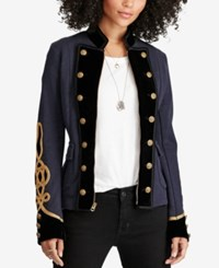 Denim And Supply Ralph Lauren Velvet Trim Military Jacket Classic Navy